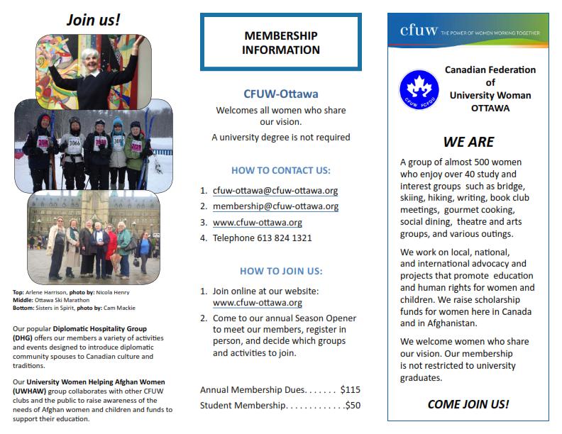 cfuw ottawa club membership information brochure